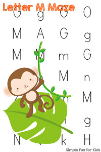 Literacy Printables for Kids: Learning letters with letter M mazes!