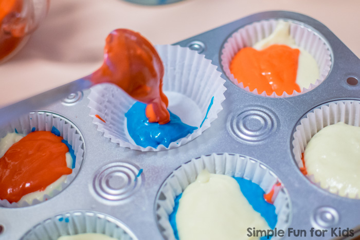 Baking with Kids: Red, white, and blue cupcakes made from scratch, perfect for the 4th of July!