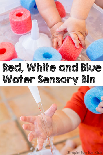 Red, White and Blue Water Sensory Bin