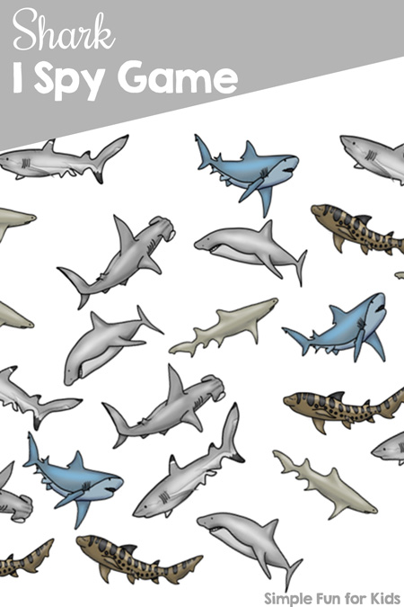 Celebrate shark week (or any week!) with this printable Shark I Spy game! Great for counting practice, 1:1 correspondence, visual discrimination, and just for fun.