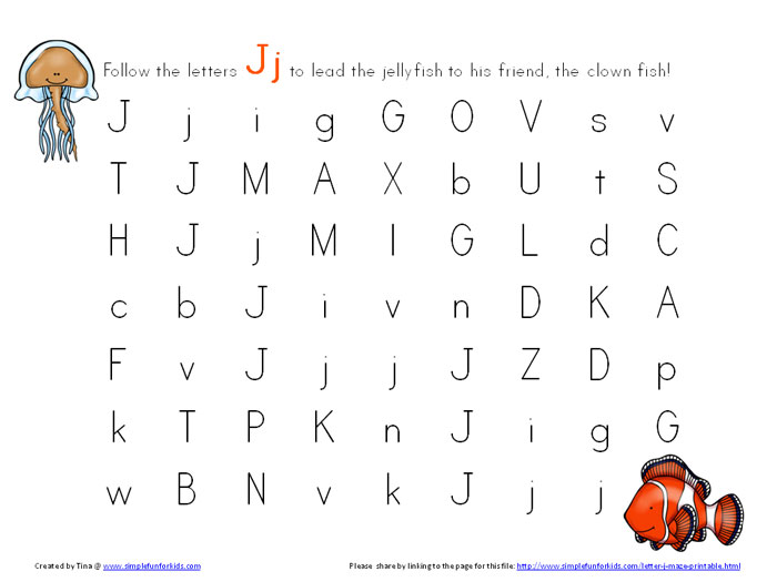 Literacy Printables for Kids: Learning letters with letter J mazes!