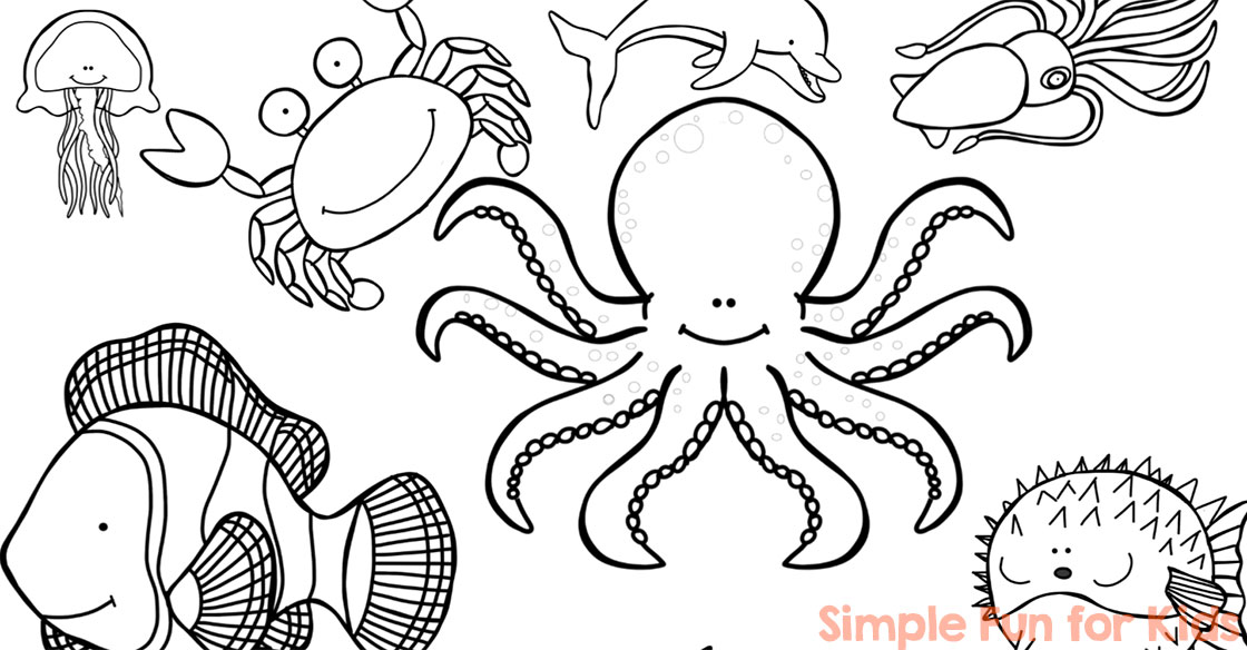 ocean creatures coloring pages simple fun for kids. Black Bedroom Furniture Sets. Home Design Ideas