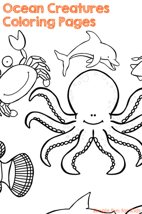 Ocean creatures coloring pages simple fun for kids for Cute sea animal coloring pages