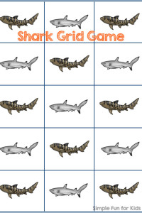 Math Printables for Kids: Play a Shark Grid Game with your kids and help them practice their math skills at the same time!