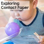 Sensory Activities for Babies: Exploring contact paper!