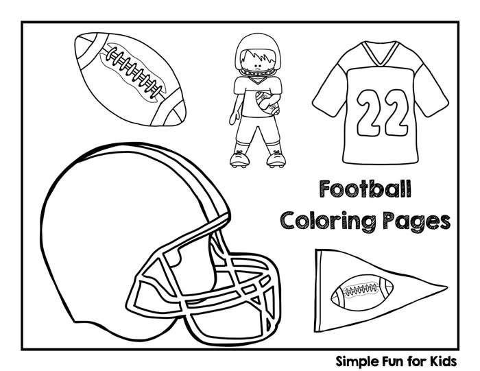 Football coloring pages simple fun for kids for Football color page