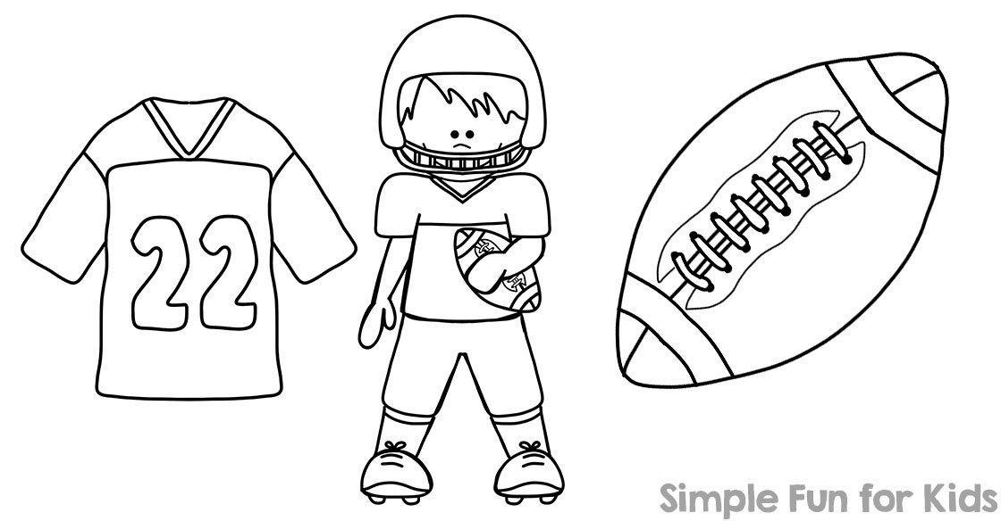 Football coloring pages simple fun for kids for Soccer coloring pages for kids