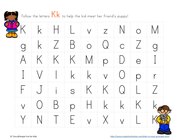 Printables for Kids: Learning Letters with Letter K Mazes!
