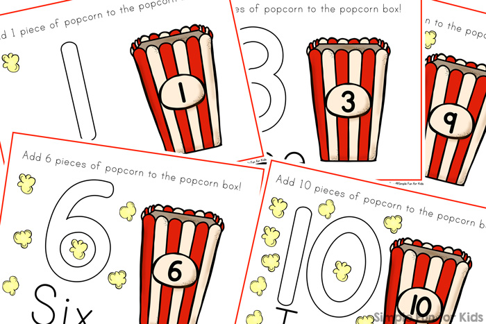 Help your preschooler or kindergartener practice counting to 10 with these cute printable Popcorn Counting Play Dough Mats!