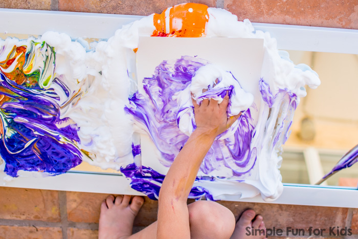 Rainbow Shaving Cream on the Mirror - art, sensory play, and tons of fun!