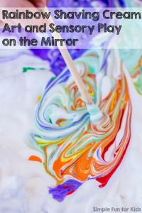 Rainbow Shaving Cream on the Mirror - art, sensory play, and tons of fun!