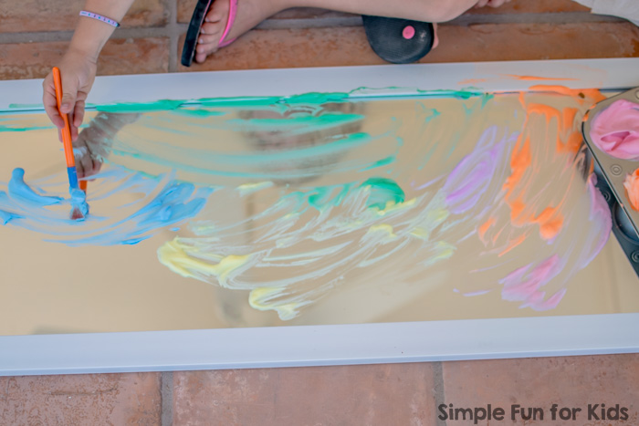 Rainbow Shaving Cream Paint On The Mirror Simple Fun For Kids