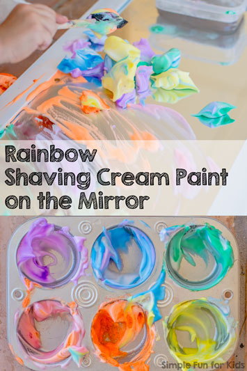 Rainbow Shaving Cream Paint on the Mirror