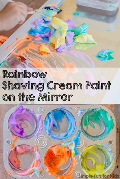 Sensory Art with Rainbow Shaving Cream Paint on the Mirror!
