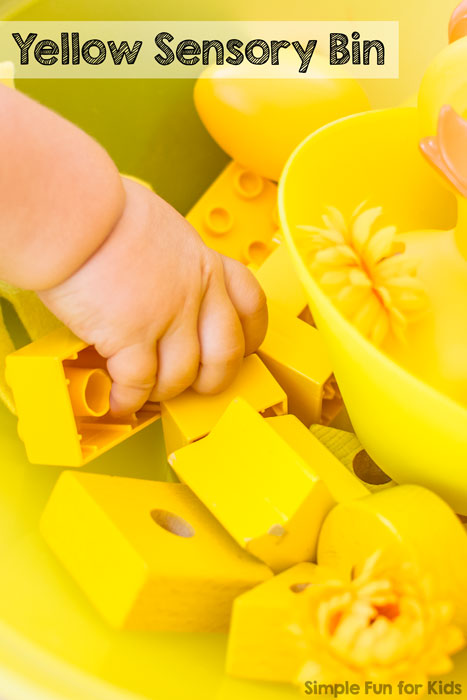 Simple yellow sensory bin with items you have around the house as an introduction to colors for babies and toddlers!