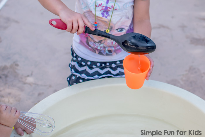 Fun for kids of all ages with a simple yellow sensory soup with rubber ducks - water play is always a hit around here!