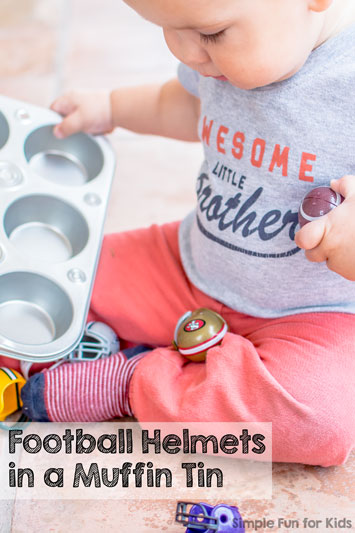 Football Helmets in a Muffin Tin