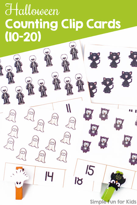 Printables for Kids: Practice counting and fine motor skills with these cute Halloween Counting Clip Cards (10-20)! Perfect for kindergarten and first grade math centers.