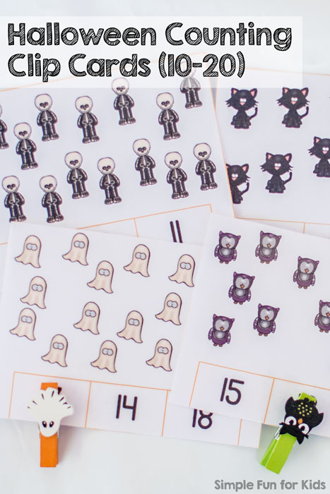 Printables for Kids: Practice counting and fine motor skills with these cute Halloween Counting Clip Cards (10-20)!