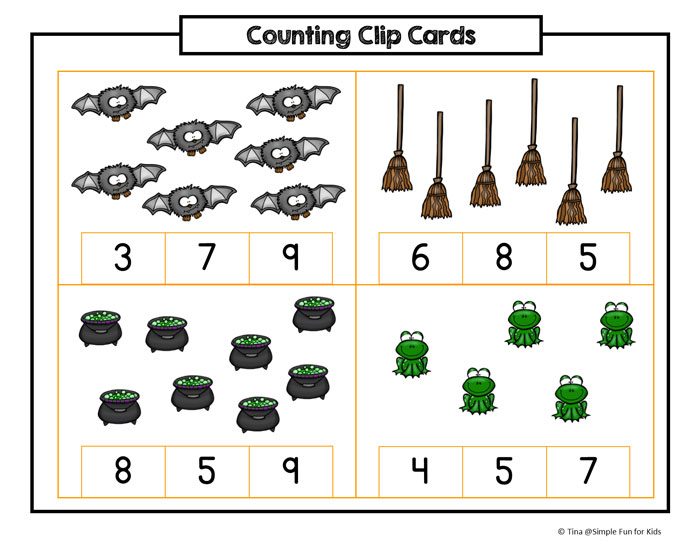 Printables for Kids: Practice counting and fine motor skills with these cute Halloween Counting Clip Cards (5-10)!