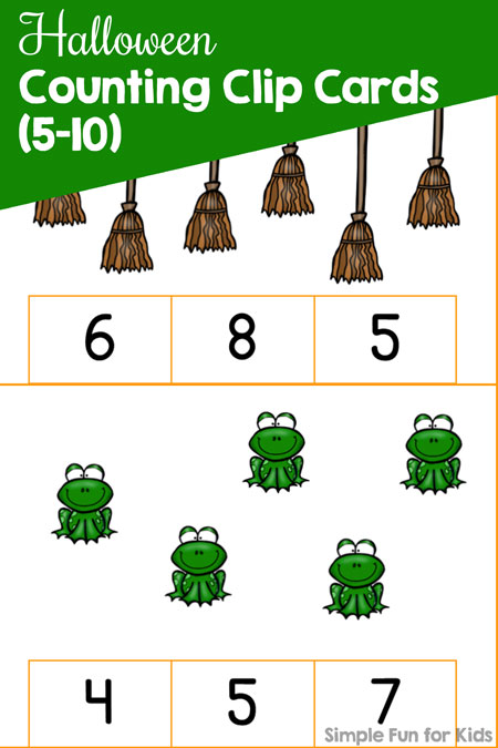 Printables for Kids: Practice counting and fine motor skills with these cute Halloween Counting Clip Cards (5-10) for preschoolers and kindergarteners!