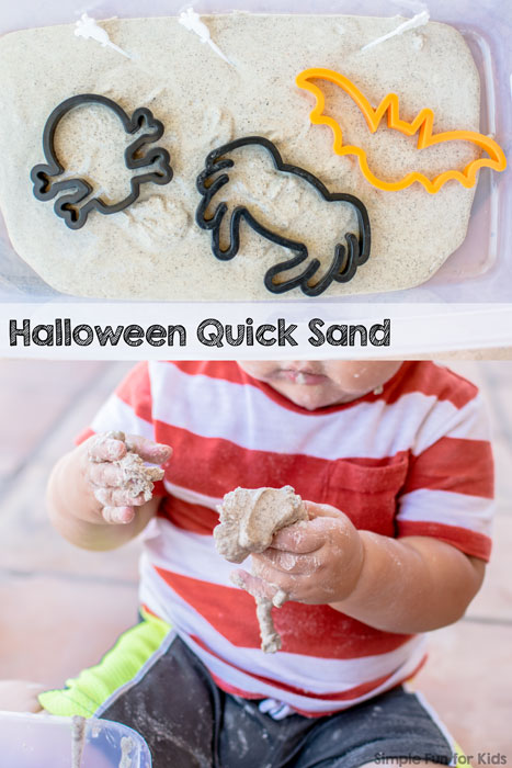 Simple messy sensory play with Halloween quick sand for toddlers!