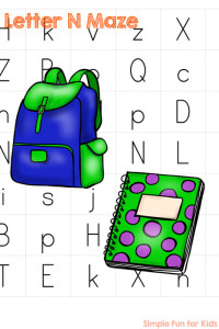 N is for Notebook: Learning Letters with printable Letter N Mazes! Perfect for toddlers and preschoolers.