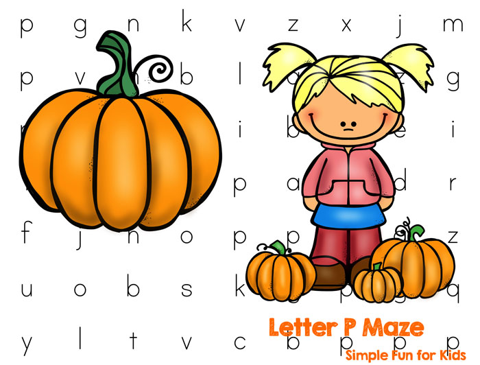 Have fun learning letters: P is for Pumpkin - Letter P Maze!
