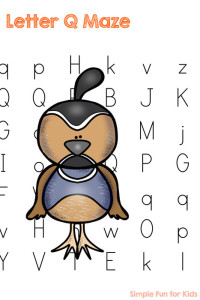 Printables for Kids: Have more fun learning letters with the Letter Q Maze - Q is for Quail!