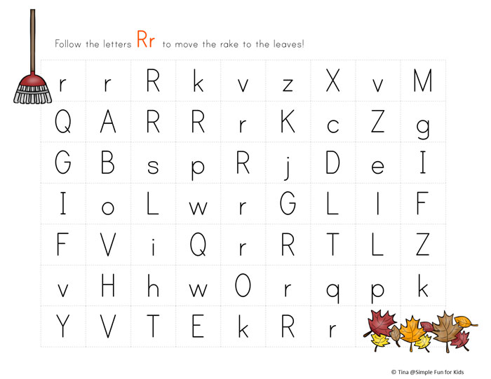... Kids: More fun while learning letters: Letter R Maze - R is for Rake