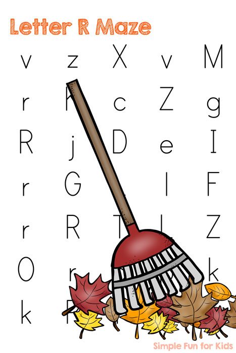 Printables for Kids: More fun while learning letters: Letter R Maze - R is for Rake!