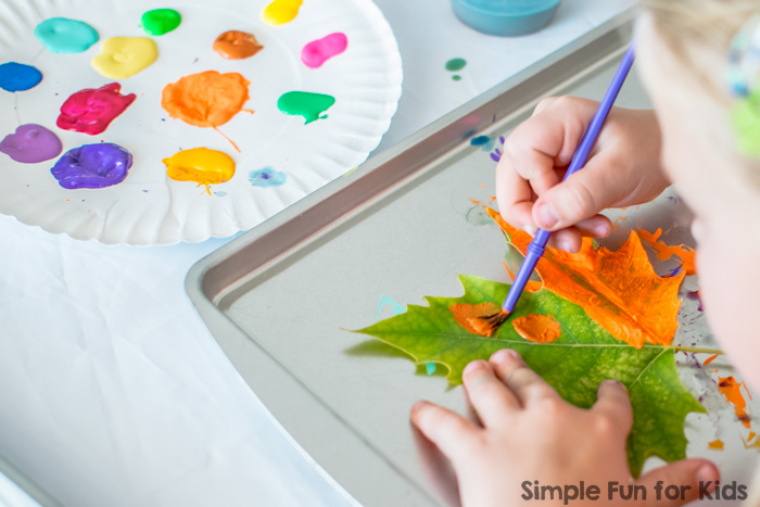 Painting leaves simple fun for kids Fun painting ideas for toddlers