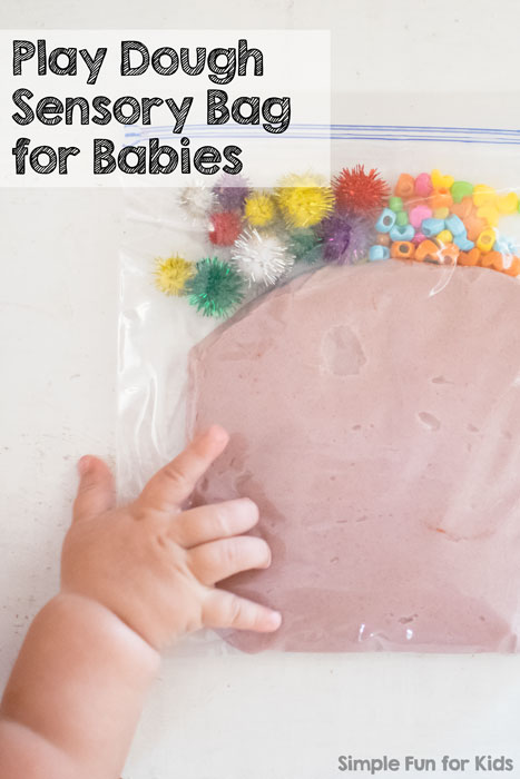 Sensory Activities for Babies: Let your baby explore play dough safely with a Play Dough Sensory Bag!