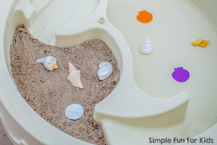 Sensory Activities for Kids: Simple Beach Sensory Play with sand, water, and sea shells in the water table! Perfect for sibling play or play dates!