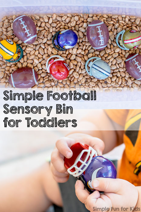 Sensory Activities for Toddlers: Simple football sensory bin with beans!