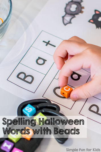 Spelling Halloween Words with Beads