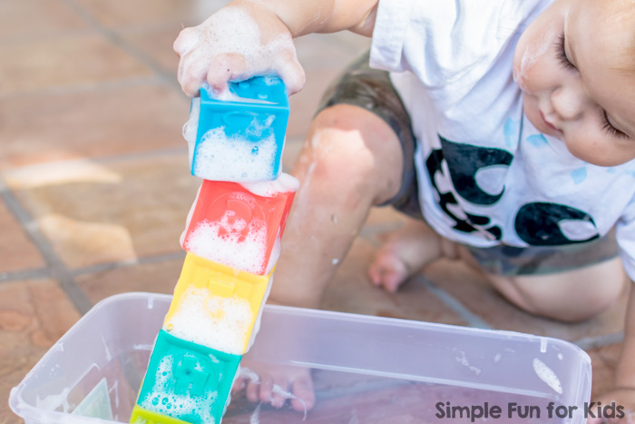 Simple Sensory Activities: Toddler Play with Foamy Blocks - quick to set up and lots of fun!
