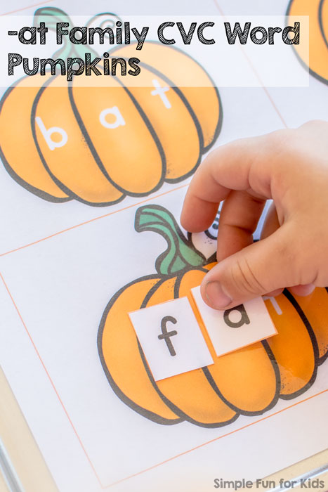 Hands on practice for sounding out words with -at Family CVC Word Pumpkins - several ways to play!