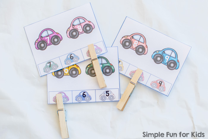 Free Math Printables for Kids: Colorful Cars Counting On Clip Cards for preschoolers and kindergartners.