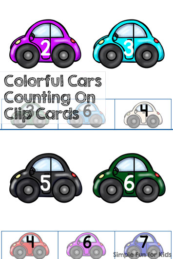 Colorful Cars Counting On Clip Cards