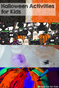 30+ fun and simple Halloween activities for kids of all ages from Simple Fun for Kids - everything from art and crafts to sensory activities and printables.