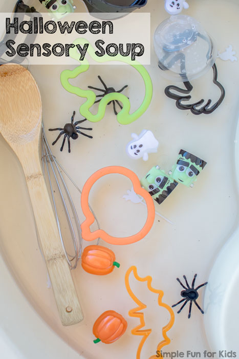 Simple sensory water play for kids of all ages, perfect for siblings: Halloween Sensory Soup