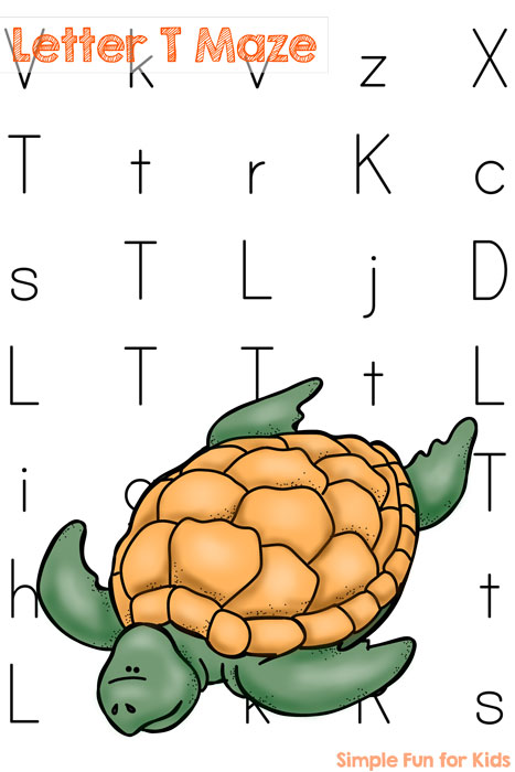 Learning letters with a toddler or preschooler? Make it more fun with a letter T maze!