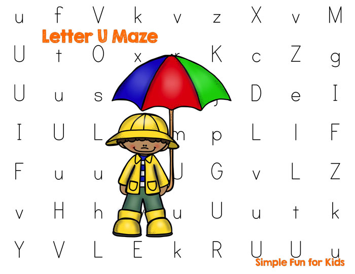 Learning letters with a toddler or preschooler? Make it more fun with this letter U maze!