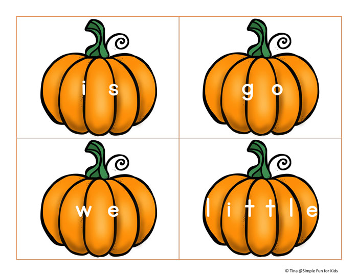 Help your kindergartner learn sight words with these Pre-Primer Sight Word Pumpkins! Perfect as flash cards, for sensory bins or memory and other games!