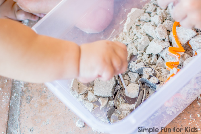 Sensory Activities for Kids: Sibling Play with Dried Out Halloween Quick Sand
