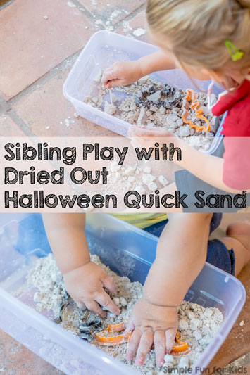 Sibling Play with Dried Out Halloween Quick Sand