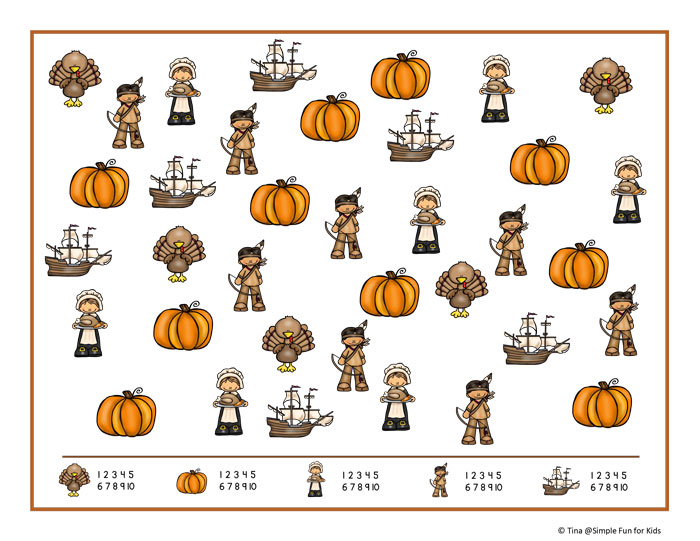 Practice visual discrimination, counting, 1:1 correspondence, and number recognition with this Thanksgiving I Spy Game printable for preschoolers and kindergartners!