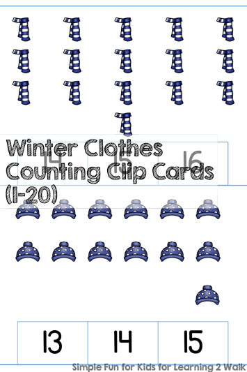 Winter Clothes Counting Clip Cards (1-20)