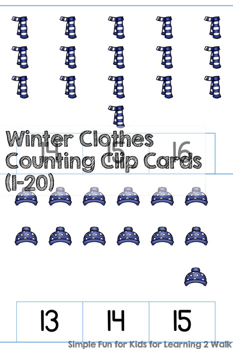 Whether you love winter or you hate it, you can now practice counting up to 20 and fine motor skills with these cute Winter Clothes Counting Clip Cards (1-20)! This Kindergarten printable uses a scattered configuration for numbers 1-10, and a rectangular array for numbers 11-20. CCSS.Math.Content.K.CC.B.5